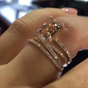 Jewelry - Rose Gold 14k gold plated  Natural Morganite ring